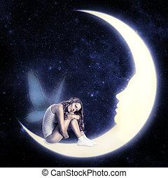 fada, lua, asas, sentando