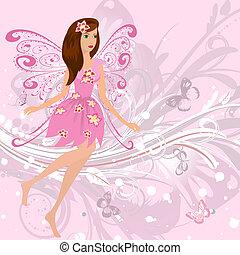 fada, menina, ligado, um, romanticos, floral, fundo