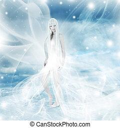 fada, mulher, inverno, fundo, neve