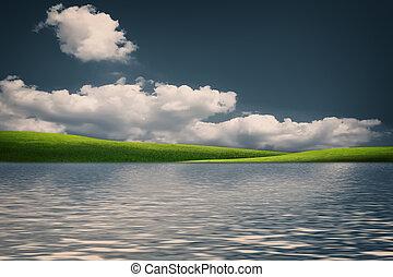 fada, natural, paisagem, com, colinas verdes, sob, céus azuis