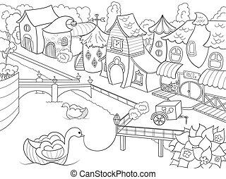 fada, rio, coloração, cidade, vetorial, crianças