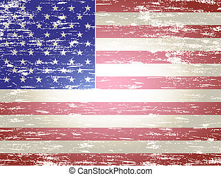 Faded American Flag - Grungy faded and distressed American...
