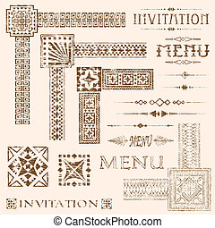 Faded Border Elements - Decorative aged and faded menu and...