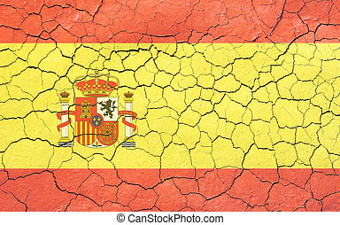 Faded, cracked, and aged texture, spanish flag.