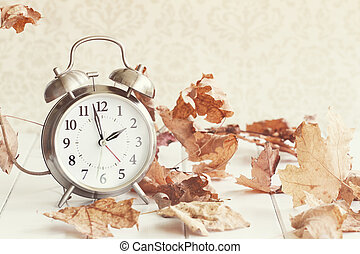 Faded Daylight Savings Time - Faded Alarm clock in colorful...