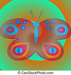 Faded red blue butterfly