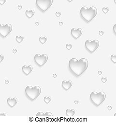 Faded seamless pattern with 3d hearts.