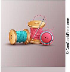faden, buttons), (, nadel, accessoirs, nähen, garnrollen, vektor, hintergrund
