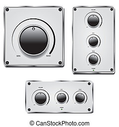 Fader and volume knob on metal plate isolated on white...