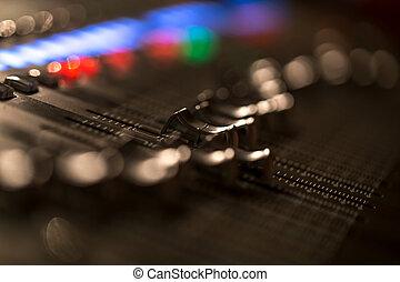 fader, console, medidor, volume, digital, misturando