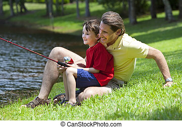 fader, fiske, med, hans, son, på, a, flod