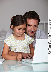 fader, laptop, dotter, användande