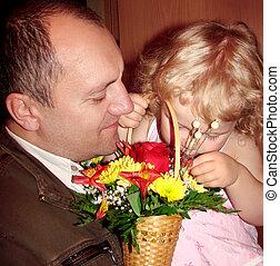 fader, litet, hans, dotter
