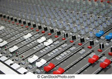 fader, nível, misturador, áudio, vídeo, tábua