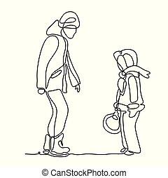 fader, och, daughter., ridande, a, is, skate., kontinuerlig, fodra, drawing., isolerat, på, den, vit, bakgrund., lycka, in, den, vardaglig