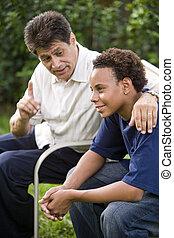fader, och, tonårig, son