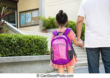 fader, promenera till skola, med, barn