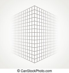 Fading and vanishing grid, mesh 3d abstract background.