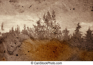 fading forest - Vintage stained photograph of trees in...