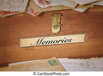 Fading Memories - A simple, old wooden box with a brass...