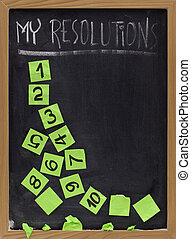 concept of New Year resolution fading, being erased or falling apart - white chalk handwriting and green reminder notes on blackboard