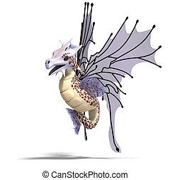 Faerie Fantasy Dragon - 3D rendering of a Faerie Fantasy...