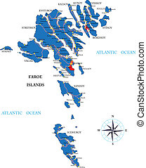 Faeroe Islands map - Highly detailed vector map of Faeroe ...