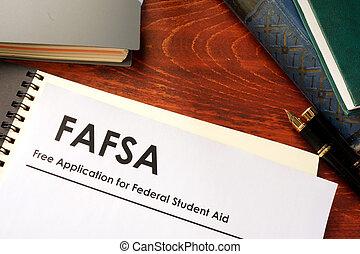 (fafsa), federal, livre, aplicação, estudante, ajuda