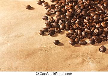 fagioli, caffè, carta, mucchio