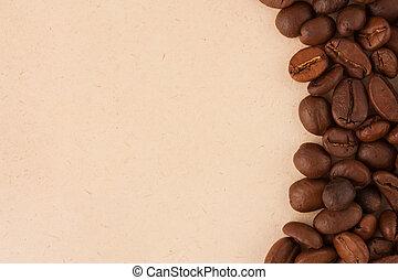 fagioli, caffè, carta, vecchio, fondo