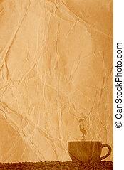 fagioli, caffè, carta, vecchio, pergamena