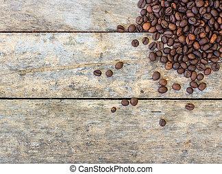 fagioli, caffè, legno, vecchio, asse