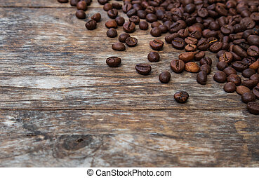 fagioli, caffè, legno, vecchio, fondo
