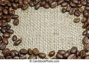 fagioli, caffè, tela ruvida
