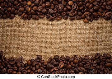 fagioli, caffè, tela ruvida, fondo