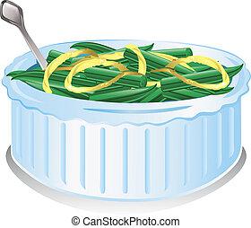 fagiolo, verde, casseruola