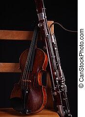 fagot, violín, orquesta, clásico