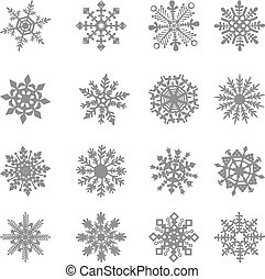 fagyasztott, kristály, grafikus, csillag, jelkép, vektor, fehér, hópehely