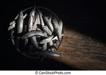 fagyasztott, spratt, asztal, fából való, fish