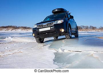 fagyasztott tó, fekete, subaru, erdész, ice.