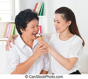 fagylalt, étkezési, tölcsér, nők