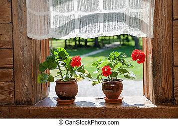 faház, napos, muskátli, ablak, vidéki, menstruáció