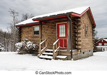 fahasáb, hó, egy, roomed, kicsi, fülke, tél