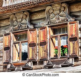 fahasáb, windows, épület, fából való, platbands, faragott