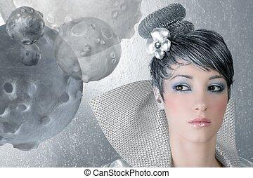 fahion makeup hairstyle woman futuristic silver