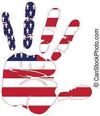fahne, amerika, handabdruck