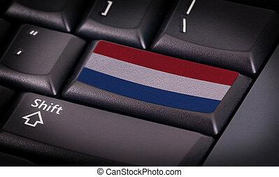 fahne, auf, tastatur