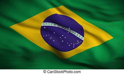 fahne, brasilianisch, looped., hd.