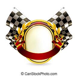 fahne, checkered, eps10, emblem