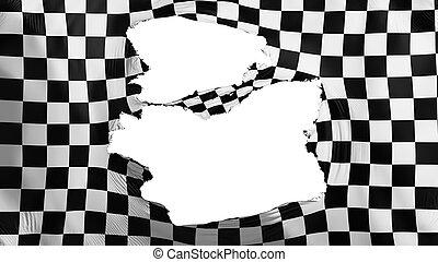 fahne, checkered, zerfetzt